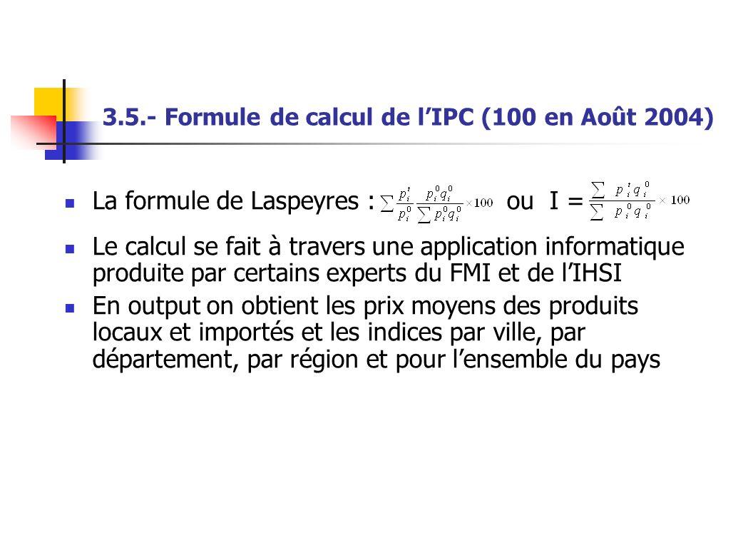 3.5.- Formule de calcul de l'IPC (100 en Août 2004)