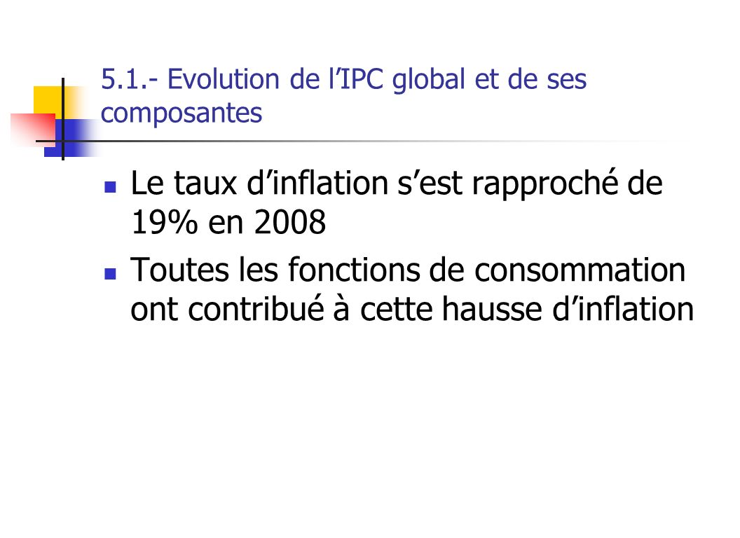5.1.- Evolution de l'IPC global et de ses composantes