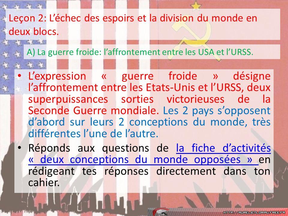 Leçon 2: L'échec des espoirs et la division du monde en deux blocs.