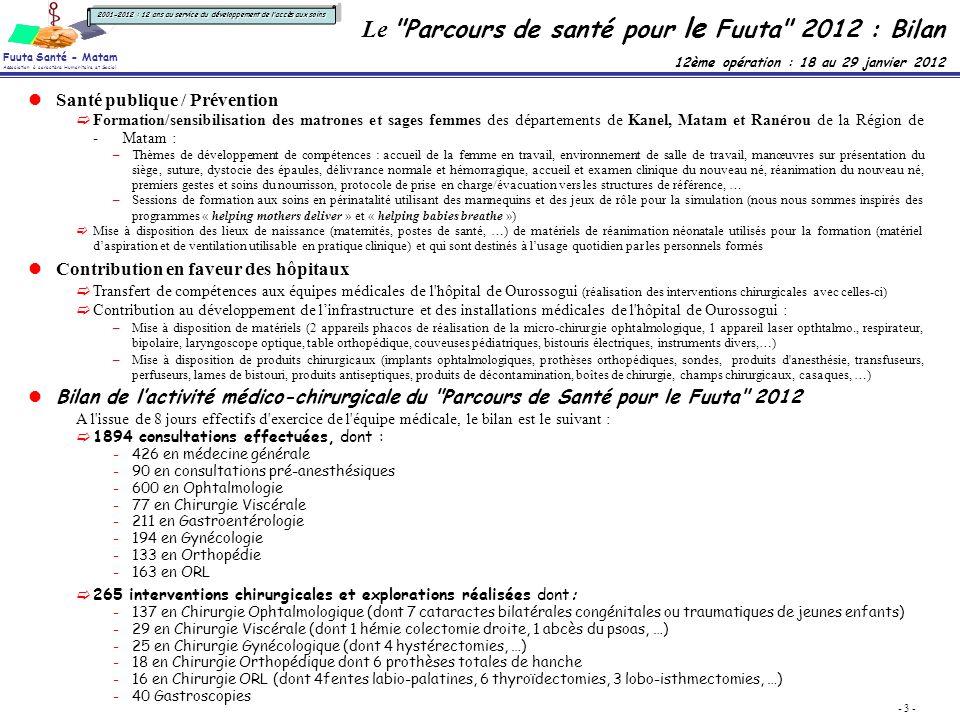 Le Parcours de santé pour le Fuuta 2012 : Bilan 12ème opération : 18 au 29 janvier 2012