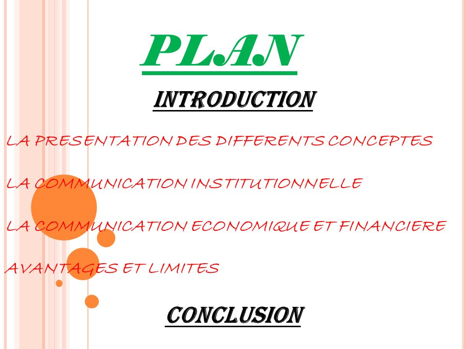 PLAN INTRODUCTION CONCLUSION LA PRESENTATION DES DIFFERENTS CONCEPTES