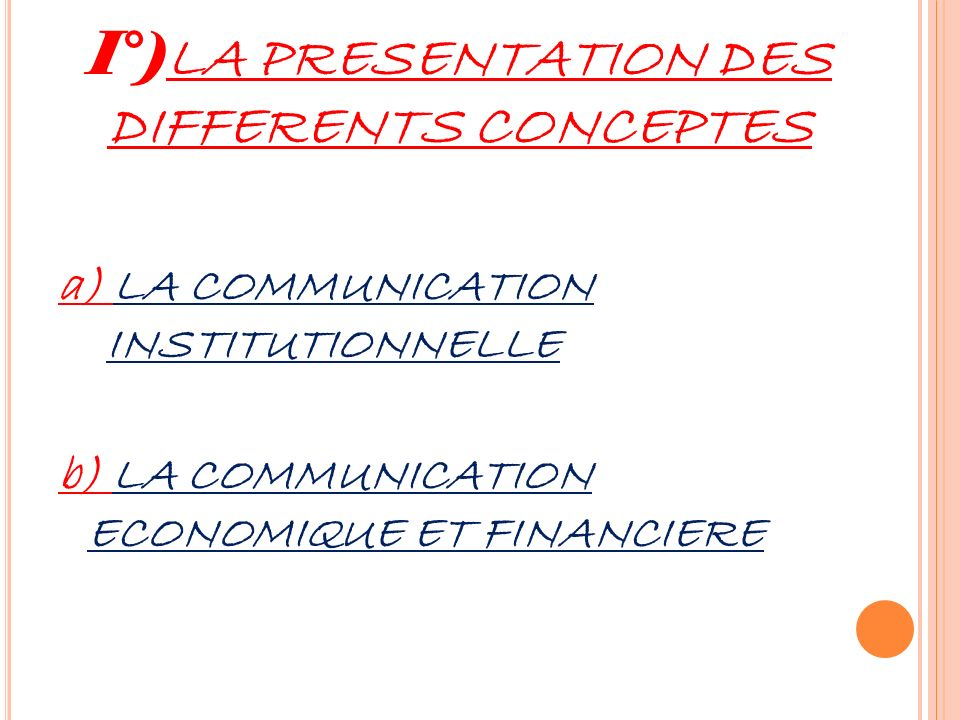 I°)LA PRESENTATION DES DIFFERENTS CONCEPTES