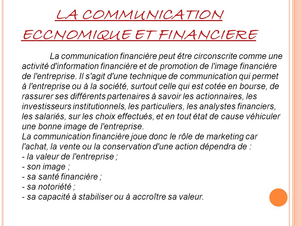 LA COMMUNICATION ECCNOMIQUE ET FINANCIERE