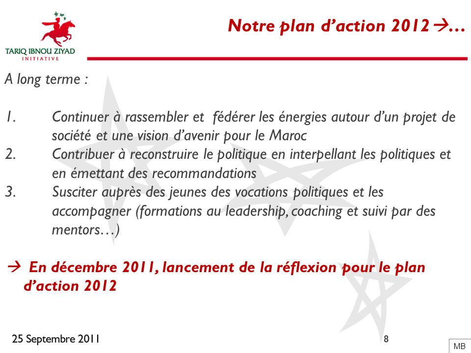 Notre plan d'action 2012… A long terme :