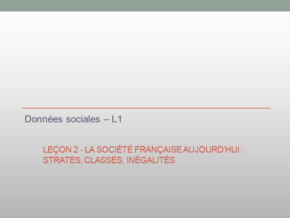 Données sociales – L1 Leçon 2 - La société française aujourd'hui : strates, classes, inégalités