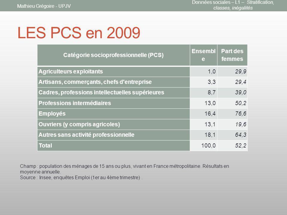 Catégorie socioprofessionnelle (PCS)