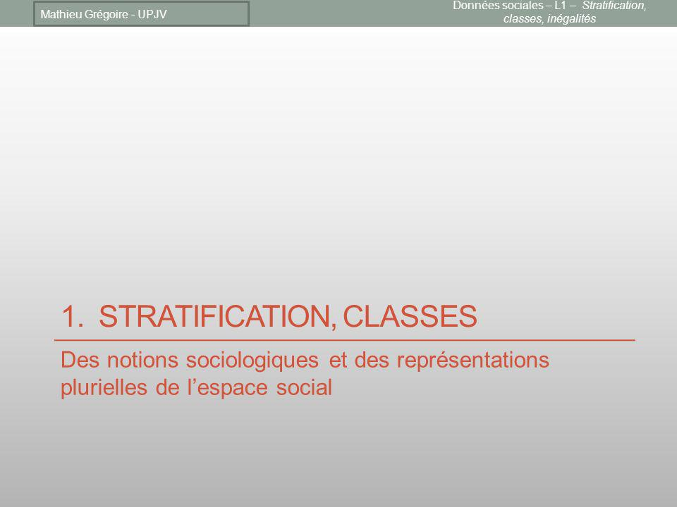 1. Stratification, classes
