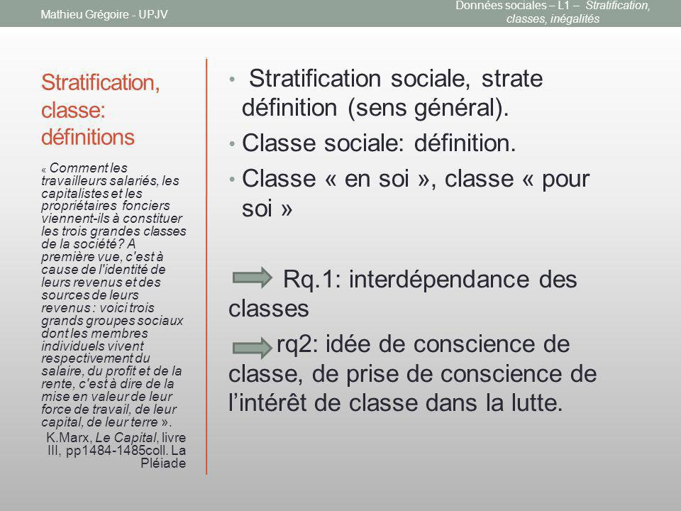 Stratification, classe: définitions