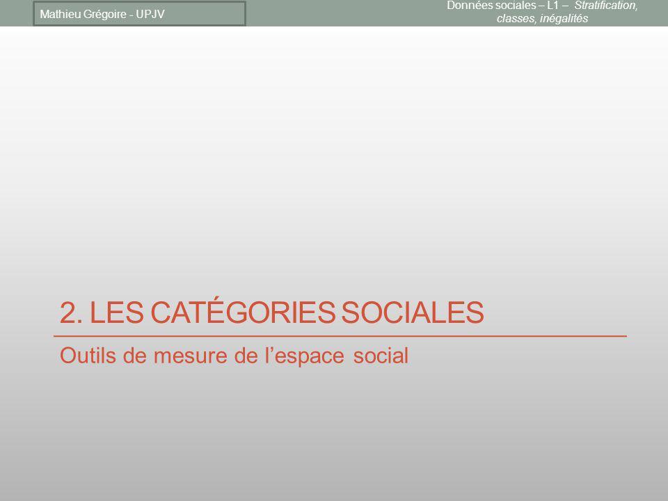 2. Les catégories sociales