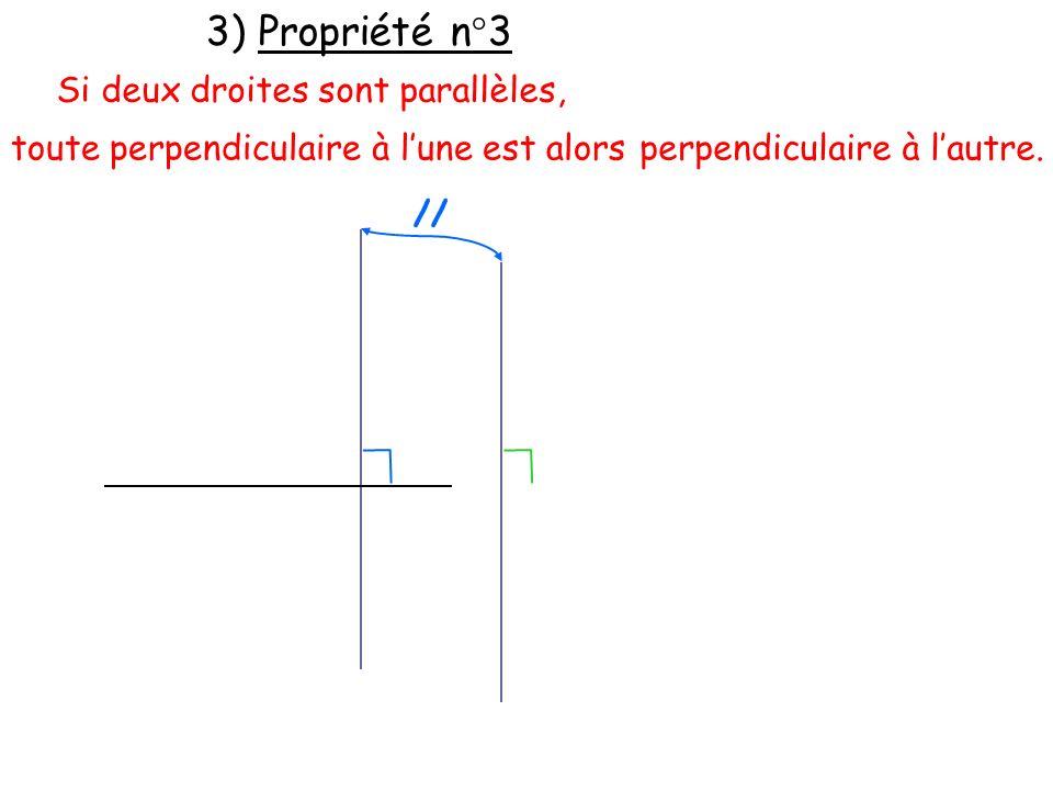 3) Propriété n°3 Si deux droites sont parallèles,