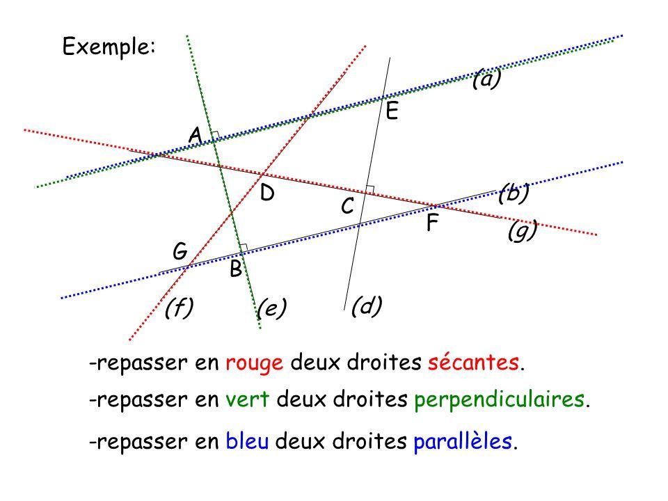 Exemple: A. D. E. G. C. F. (b) (a) B. (e) (d) (g) (f) -repasser en rouge deux droites sécantes.