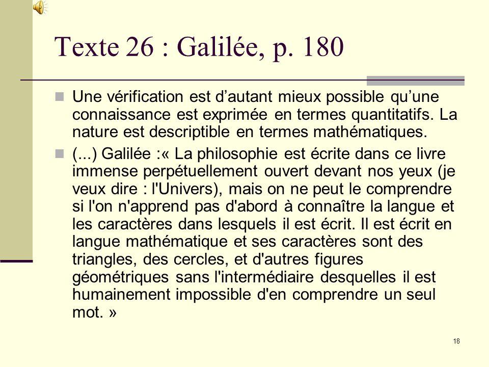 Texte 26 : Galilée, p. 180