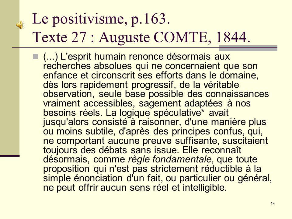 Le positivisme, p.163. Texte 27 : Auguste COMTE, 1844.