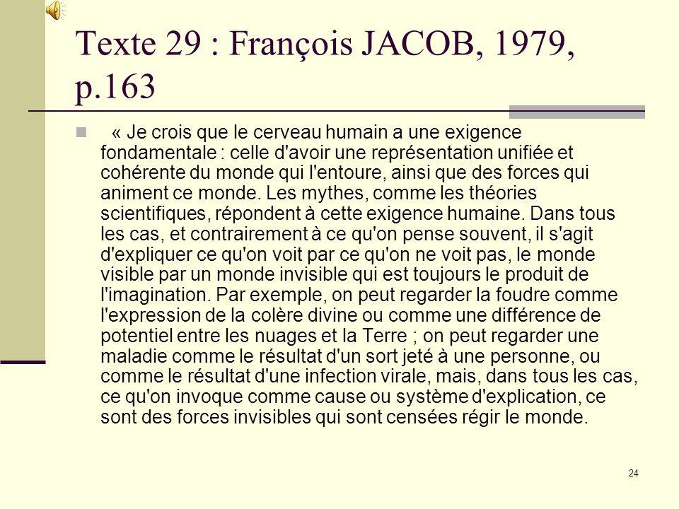 Texte 29 : François JACOB, 1979, p.163