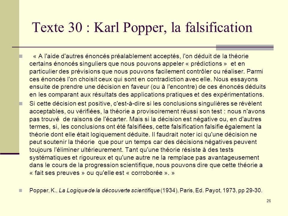 Texte 30 : Karl Popper, la falsification