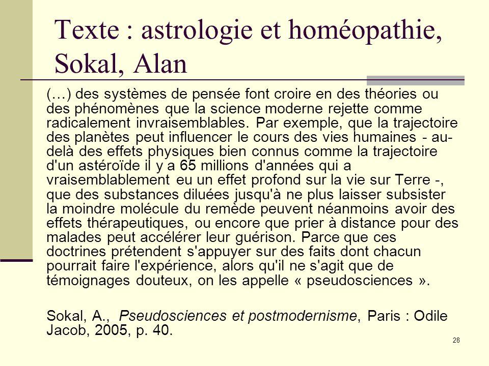 Texte : astrologie et homéopathie, Sokal, Alan