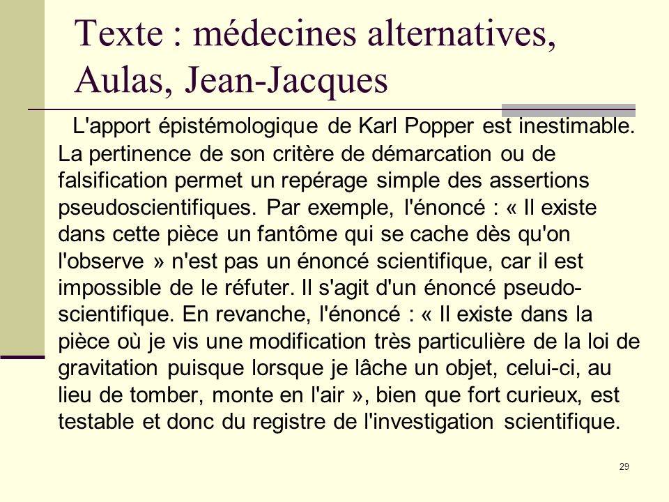 Texte : médecines alternatives, Aulas, Jean-Jacques