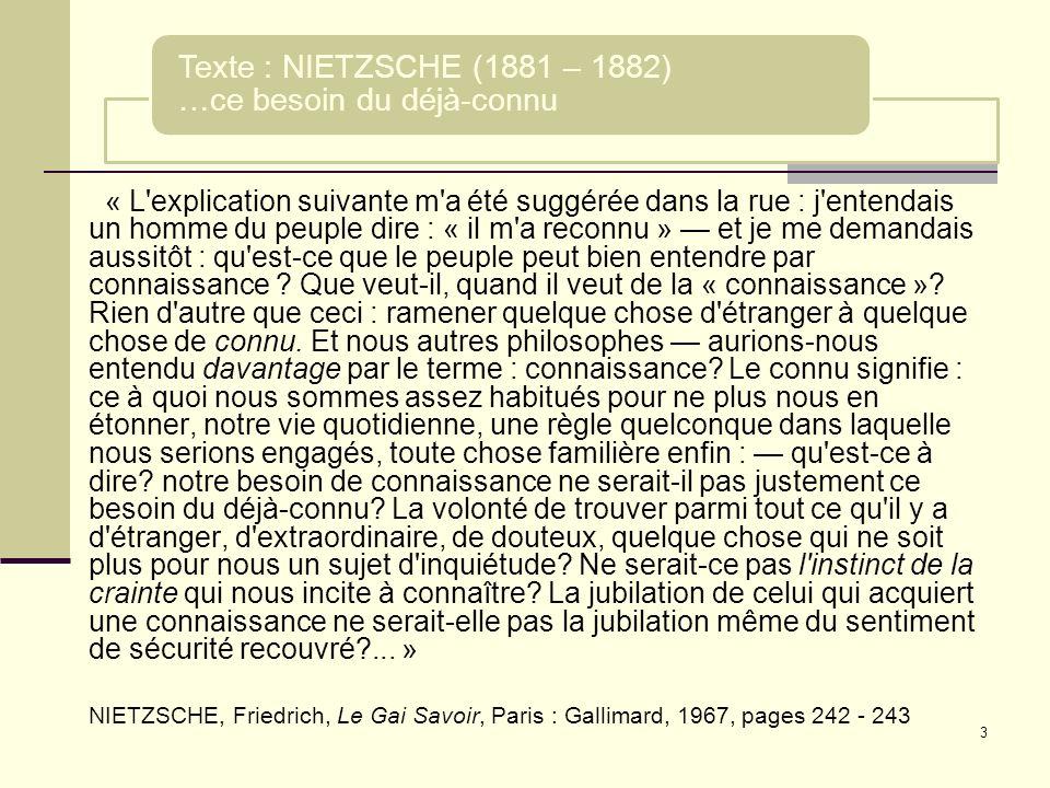 Texte : NIETZSCHE (1881 – 1882) …ce besoin du déjà-connu
