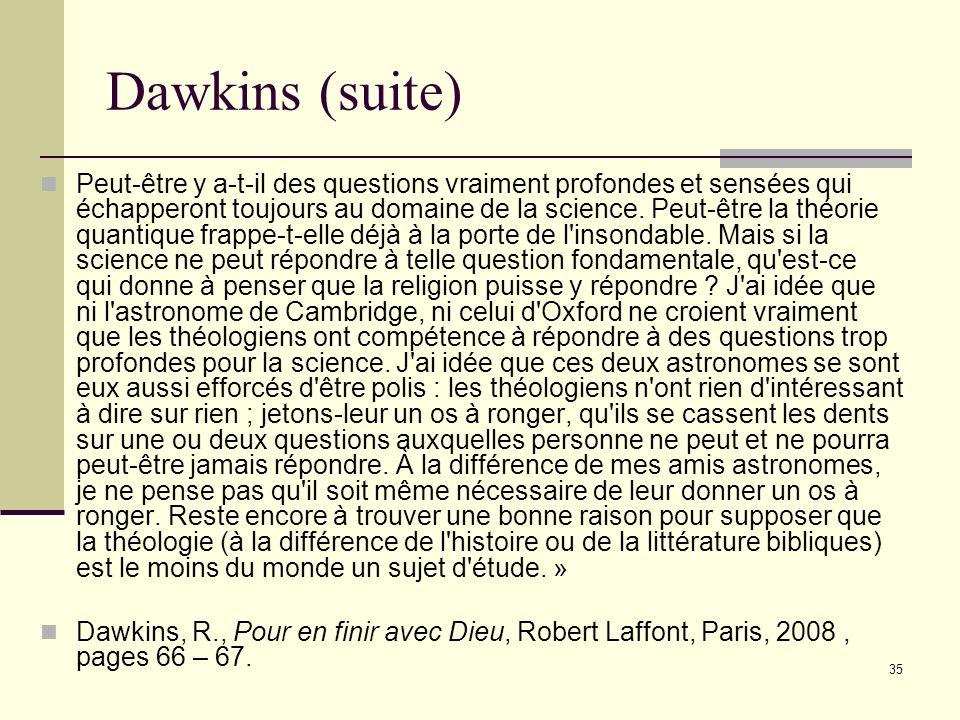 Dawkins (suite)