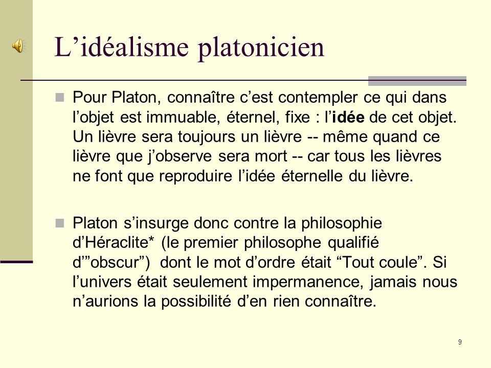 L'idéalisme platonicien