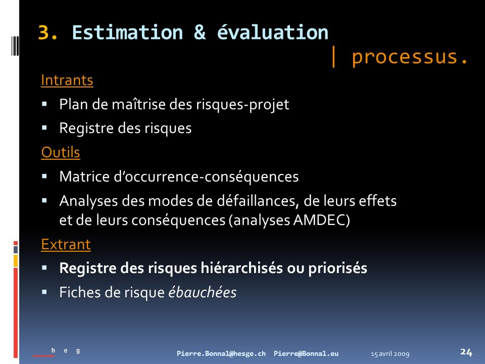 3. Estimation & évaluation