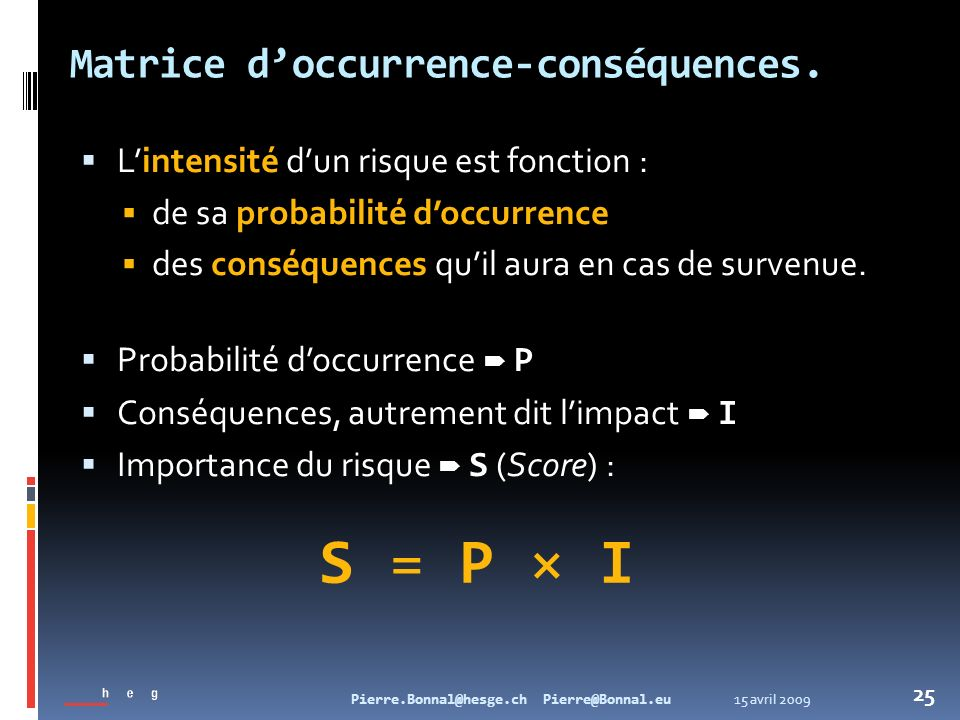 Matrice d'occurrence-conséquences.