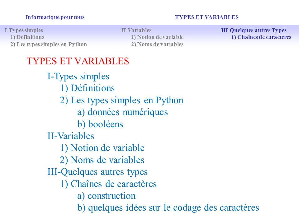 2) Les types simples en Python a) données numériques b) booléens