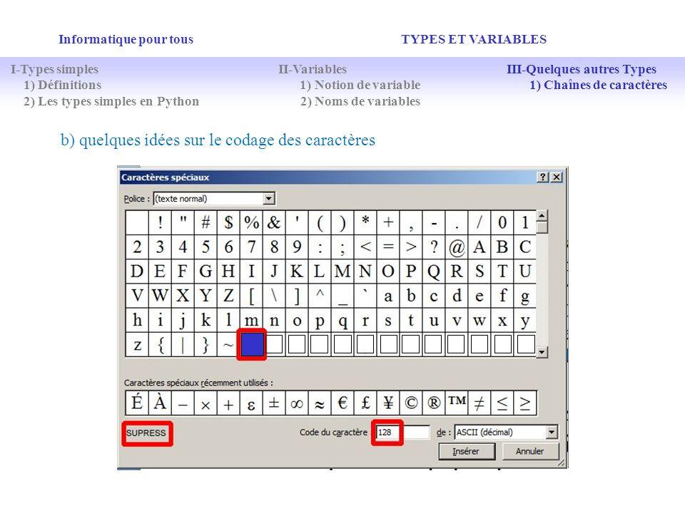 b) quelques idées sur le codage des caractères
