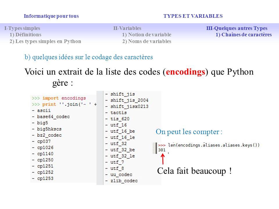 Voici un extrait de la liste des codes (encodings) que Python gère :
