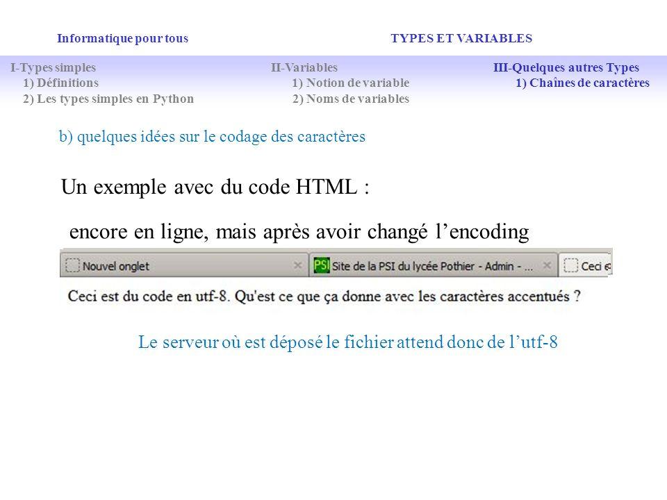 Un exemple avec du code HTML :