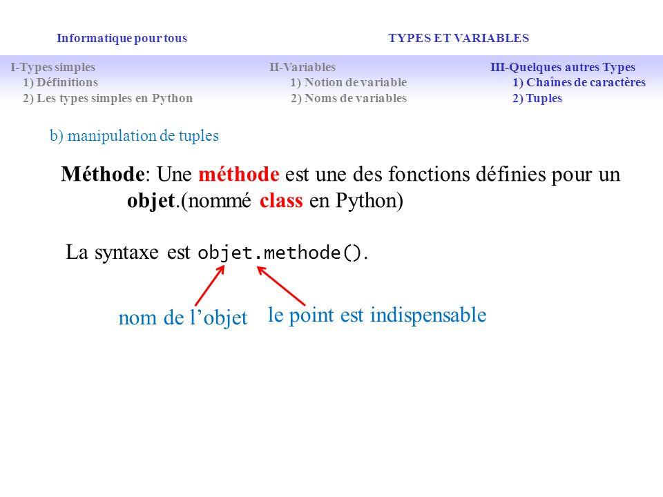 La syntaxe est objet.methode().