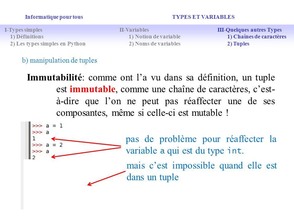 pas de problème pour réaffecter la variable a qui est du type int.