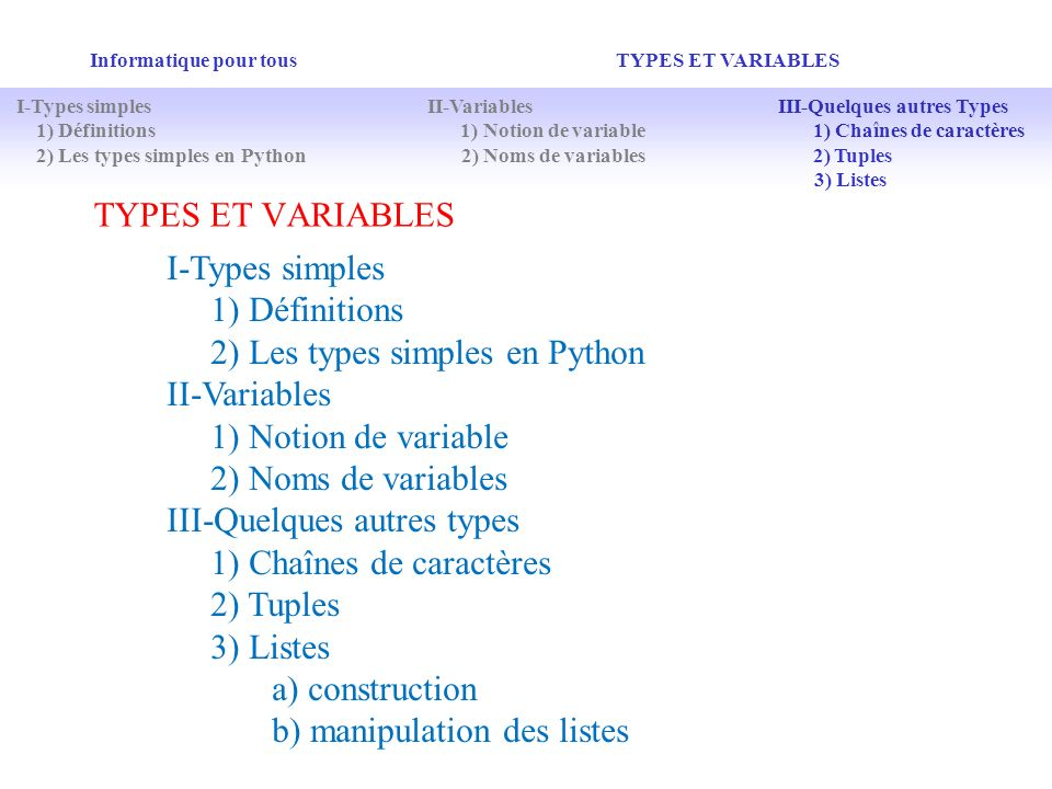 2) Les types simples en Python II-Variables 1) Notion de variable