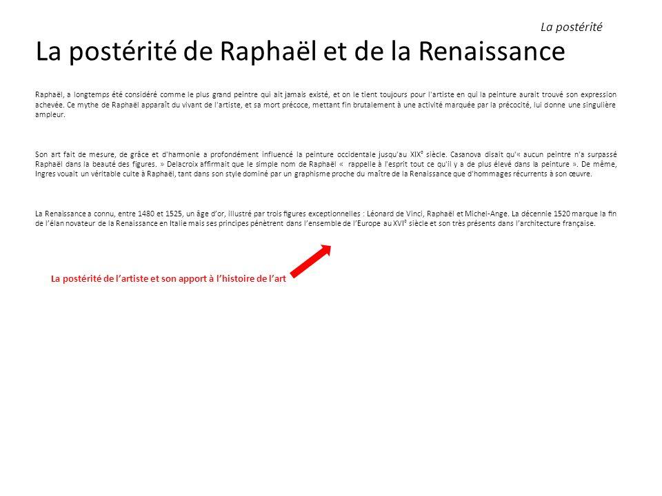 La postérité de Raphaël et de la Renaissance