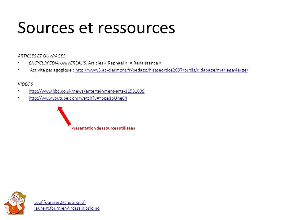 Sources et ressources ARTICLES ET OUVRAGES