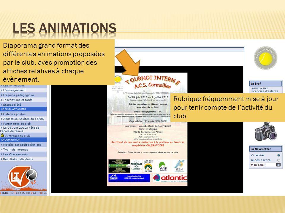 Les animations Diaporama grand format des différentes animations proposées par le club, avec promotion des affiches relatives à chaque évènement.