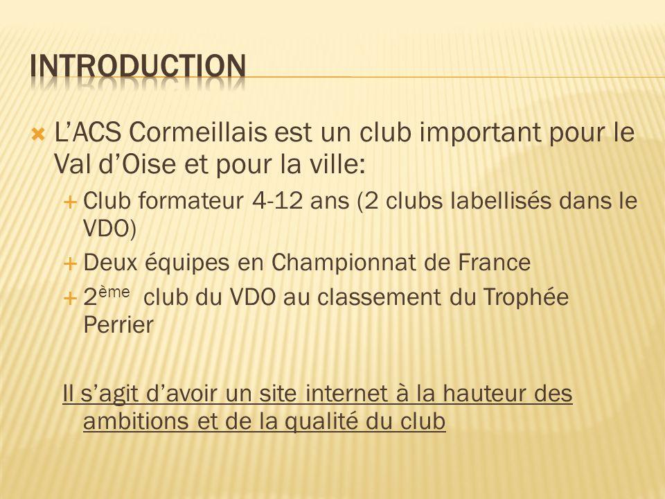 Introduction L'ACS Cormeillais est un club important pour le Val d'Oise et pour la ville: Club formateur 4-12 ans (2 clubs labellisés dans le VDO)