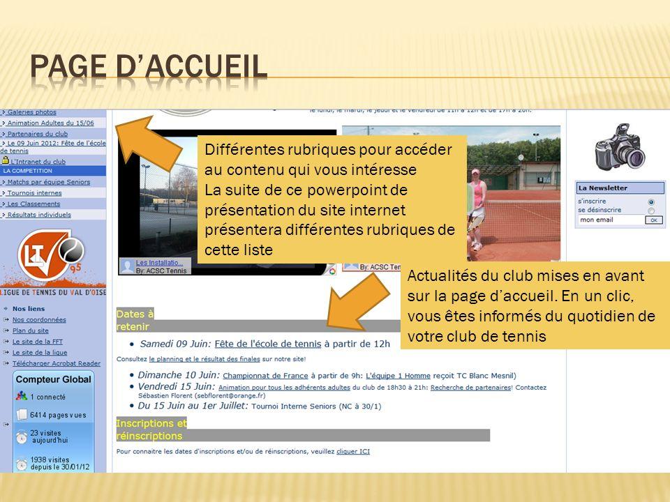 Page d'accueil Différentes rubriques pour accéder au contenu qui vous intéresse.