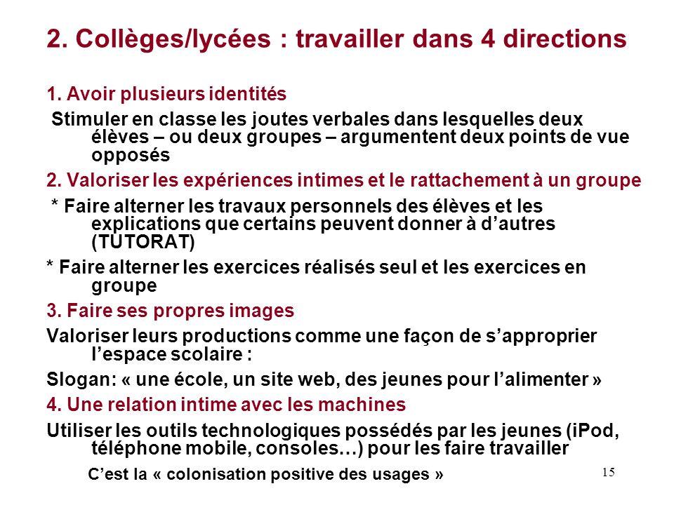 2. Collèges/lycées : travailler dans 4 directions
