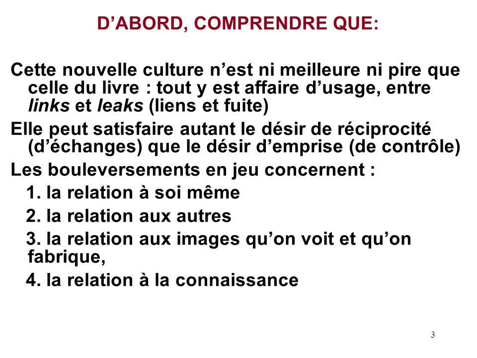 D'ABORD, COMPRENDRE QUE: