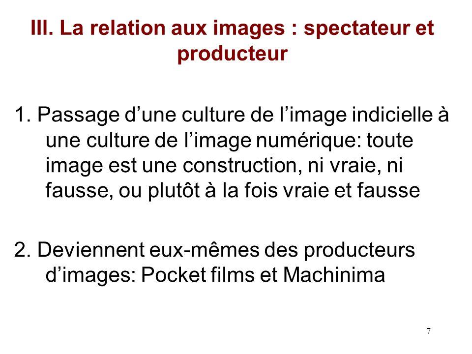 IIl. La relation aux images : spectateur et producteur