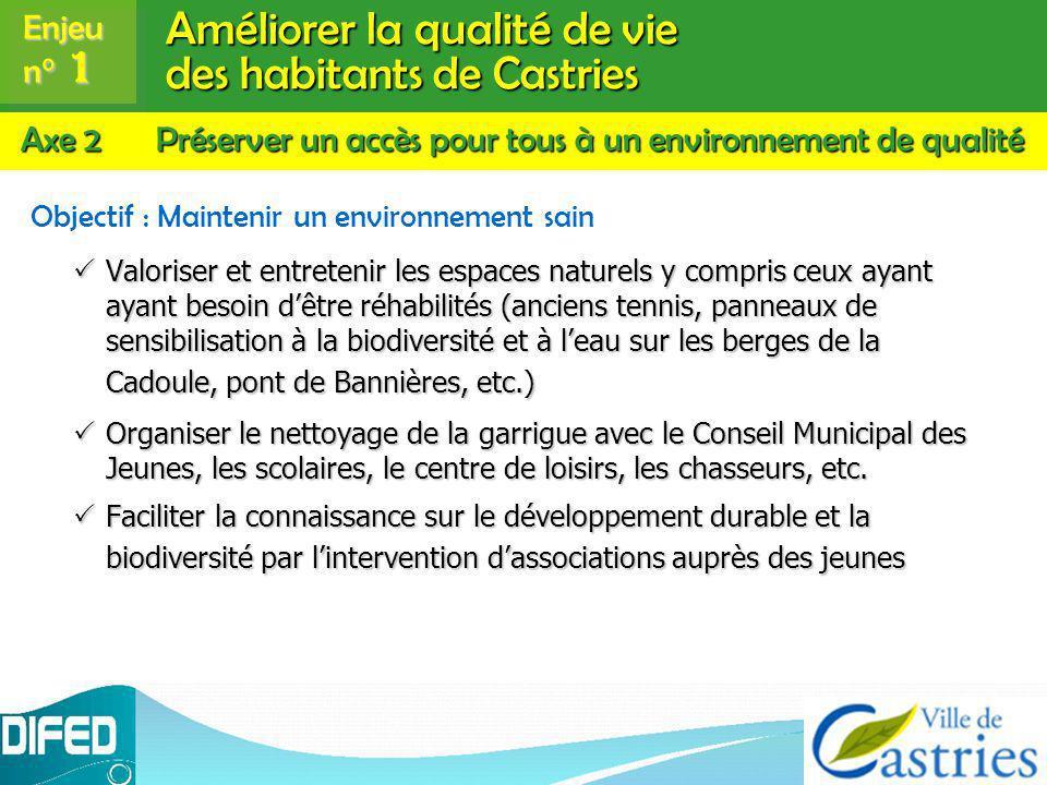 Améliorer la qualité de vie des habitants de Castries