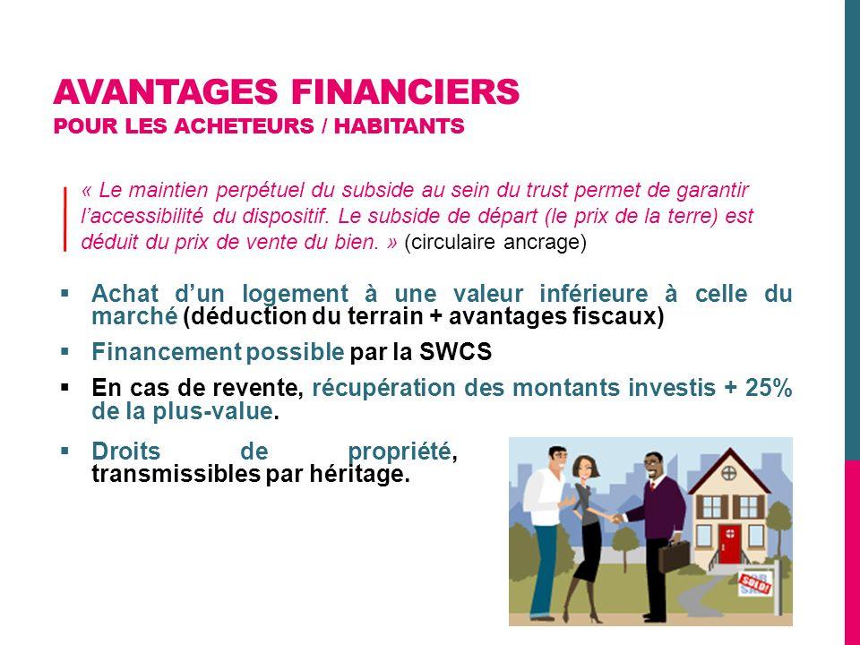 AVANTAGES FINANCIERS POUR LES ACHETEURS / HABITANTS