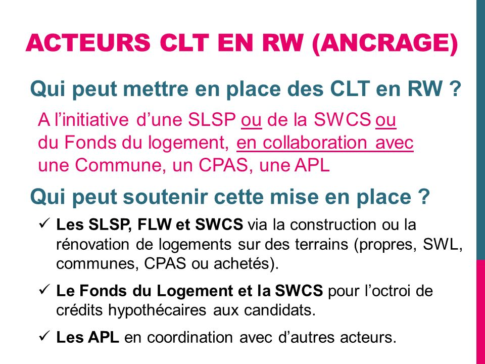 ACTEURS CLT EN RW (ANCRAGE)