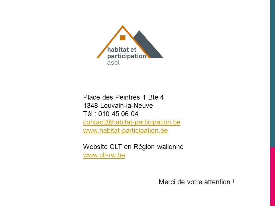 Place des Peintres 1 Bte 4 1348 Louvain-la-Neuve. Tél : 010 45 06 04. contact@habitat-participation.be.
