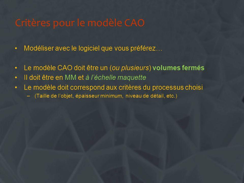 Critères pour le modèle CAO