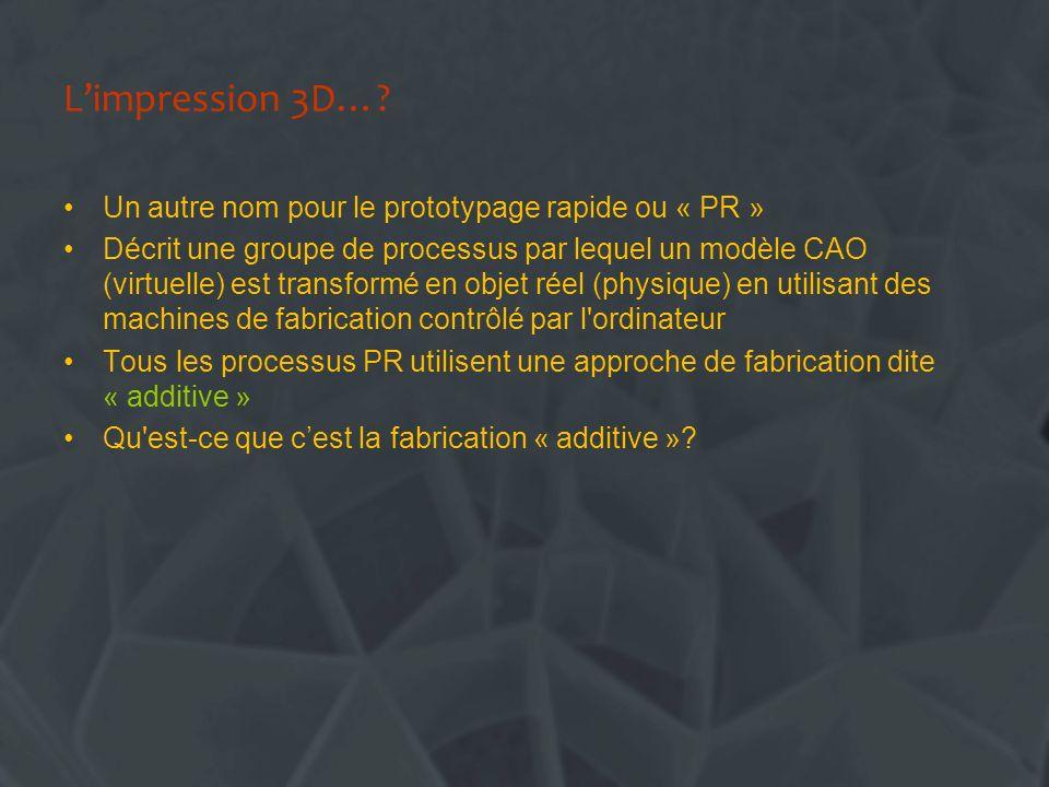 L'impression 3D… Un autre nom pour le prototypage rapide ou « PR »