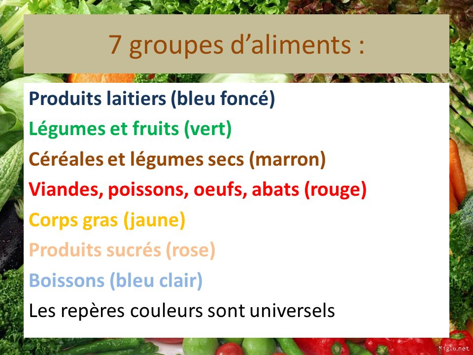 7 groupes d'aliments :