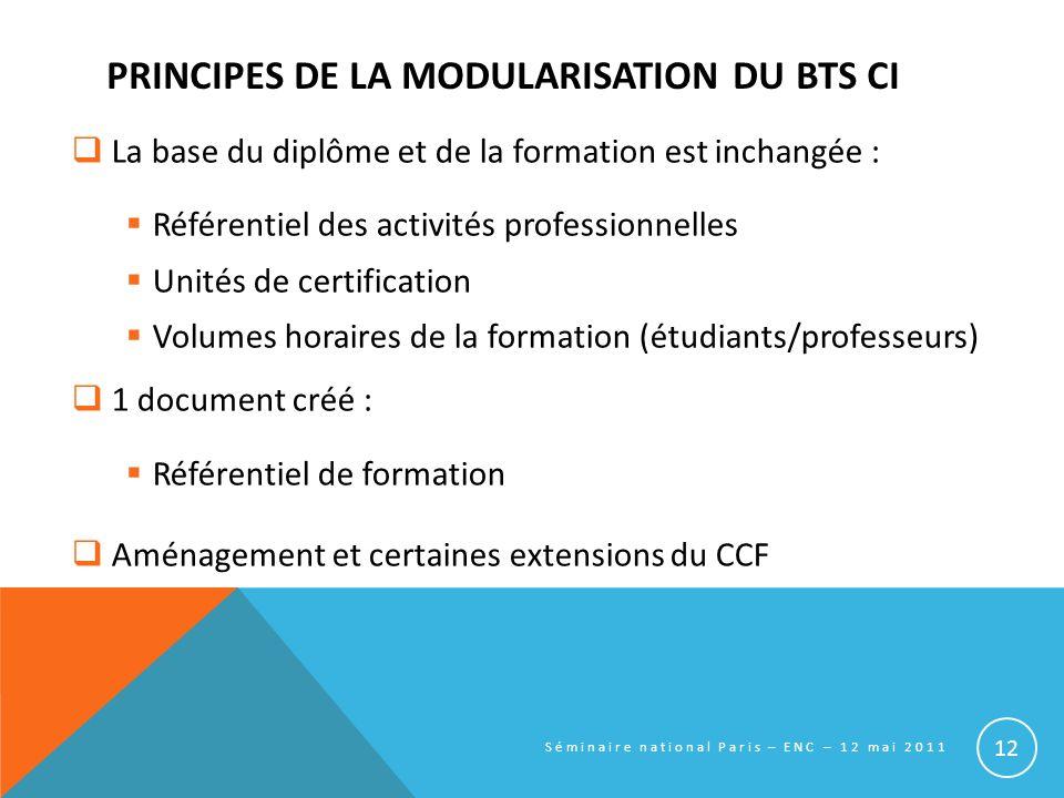 PRINCIPES DE LA MODULARISATION DU BTS CI