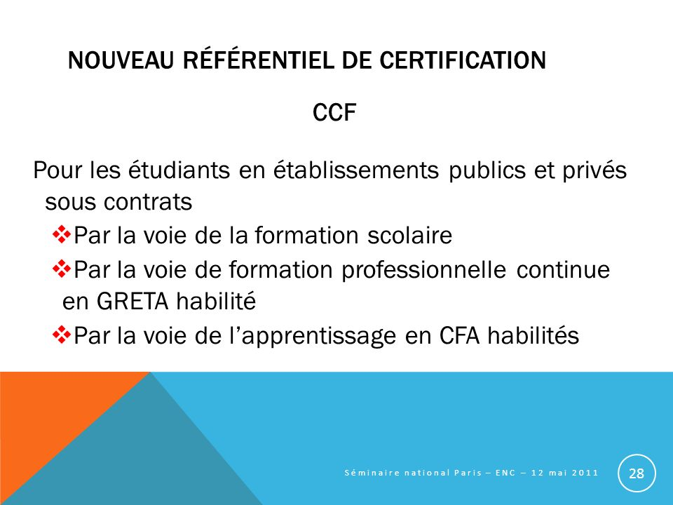 Nouveau référentiel de certification